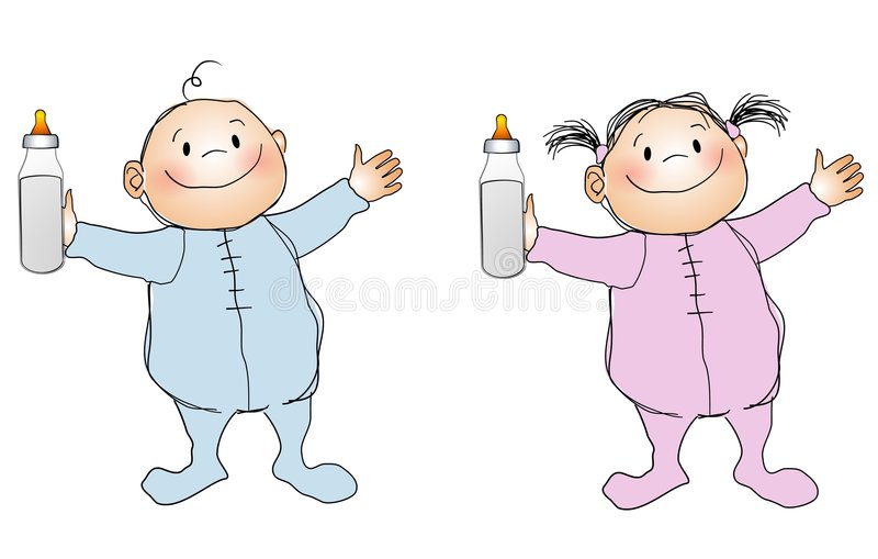 behandla som ett barn att le för pojkeflicka stock illustrationer
