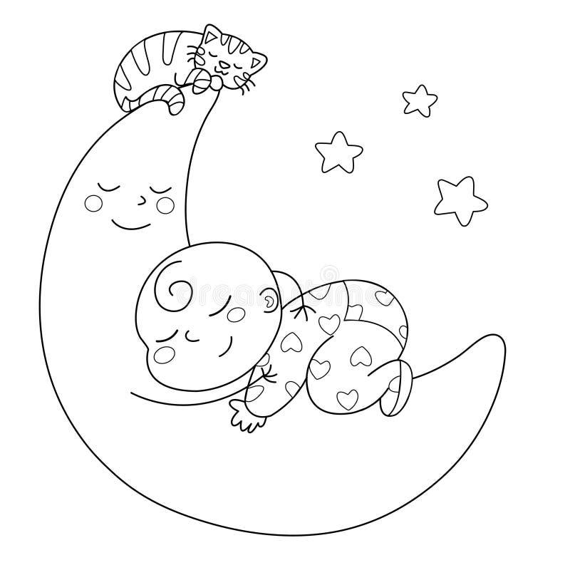 behandla som ett barn att sova stock illustrationer