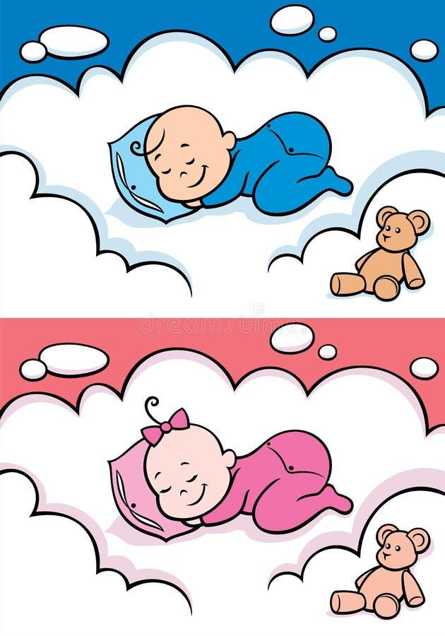 behandla som ett barn att sova vektor illustrationer
