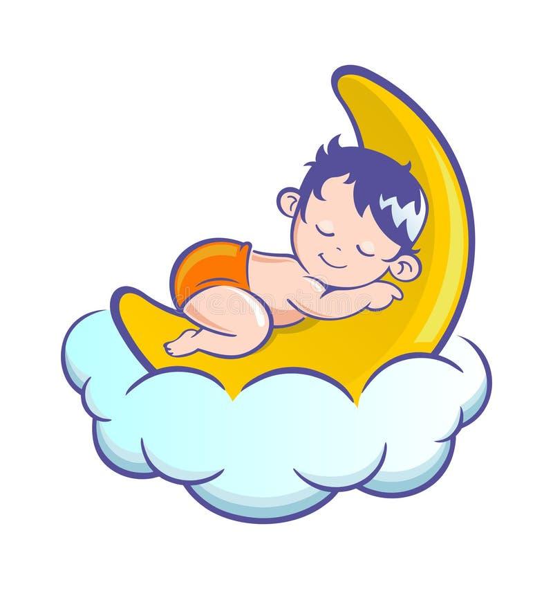 behandla som ett barn att sova för moon vektor illustrationer