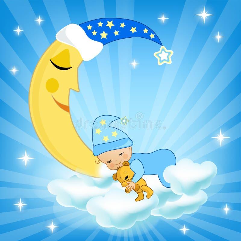 Behandla som ett barn att sova på molnet royaltyfri illustrationer