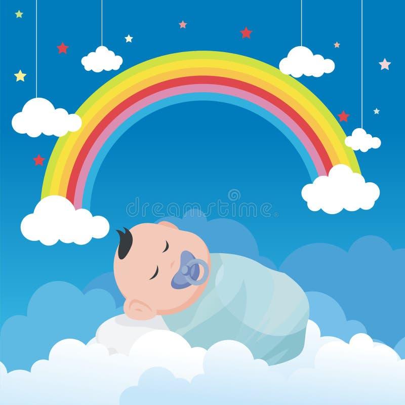 Behandla som ett barn att sova på molnet med den älskvärda regnbågeillustrationen vektor illustrationer
