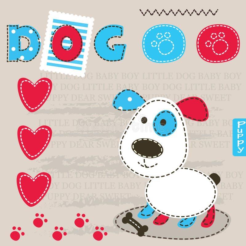 Behandla som ett barn bakgrund med den gulliga hunden stock illustrationer
