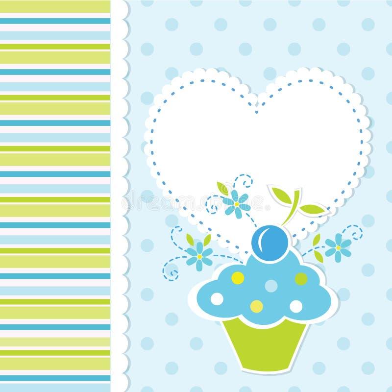 Behandla som ett barn bakgrund med muffin royaltyfri illustrationer