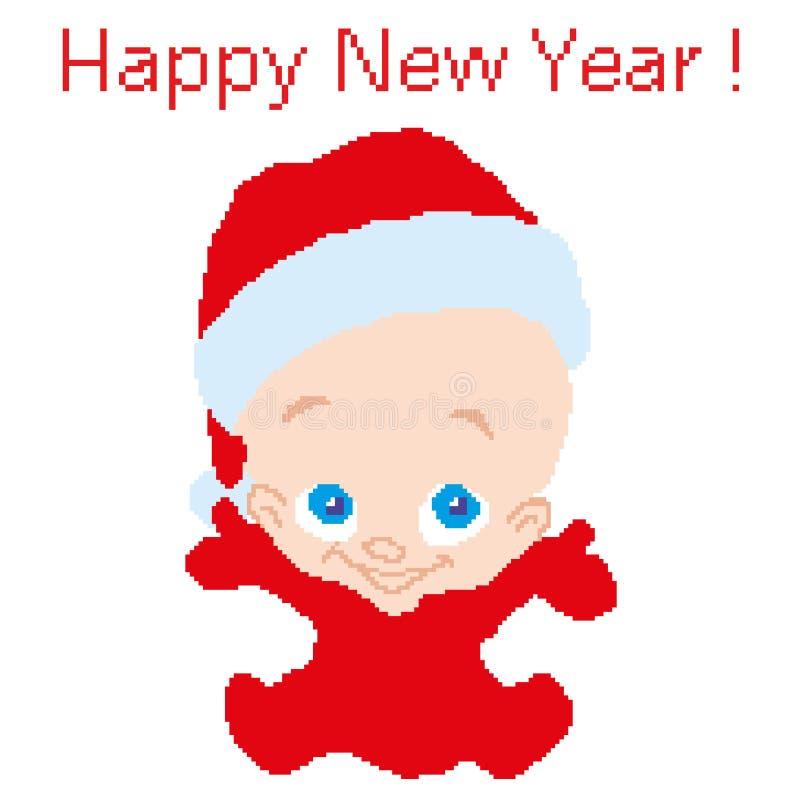 Behandla som ett barn barnet i jultomten den röda dräkten för nya år som dras av fyrkanter, PIXEL Lyckligt nytt år för hälsningko royaltyfri illustrationer
