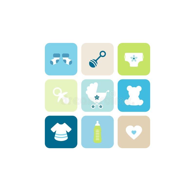 Behandla som ett barn beiga för symboler för kortpojke nio blå grön vektor illustrationer