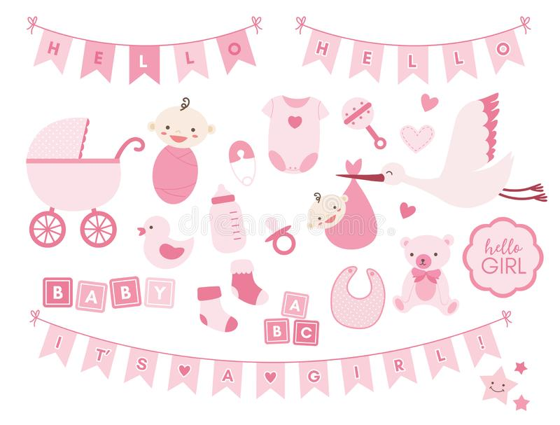 Behandla som ett barn beståndsdelar för flickaduschdesignen Vektorn ställde in av gulliga nyfödda symboler stock illustrationer