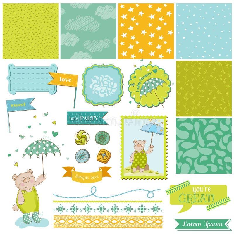 Behandla som ett barn björnduschtemat - designbeståndsdelar stock illustrationer
