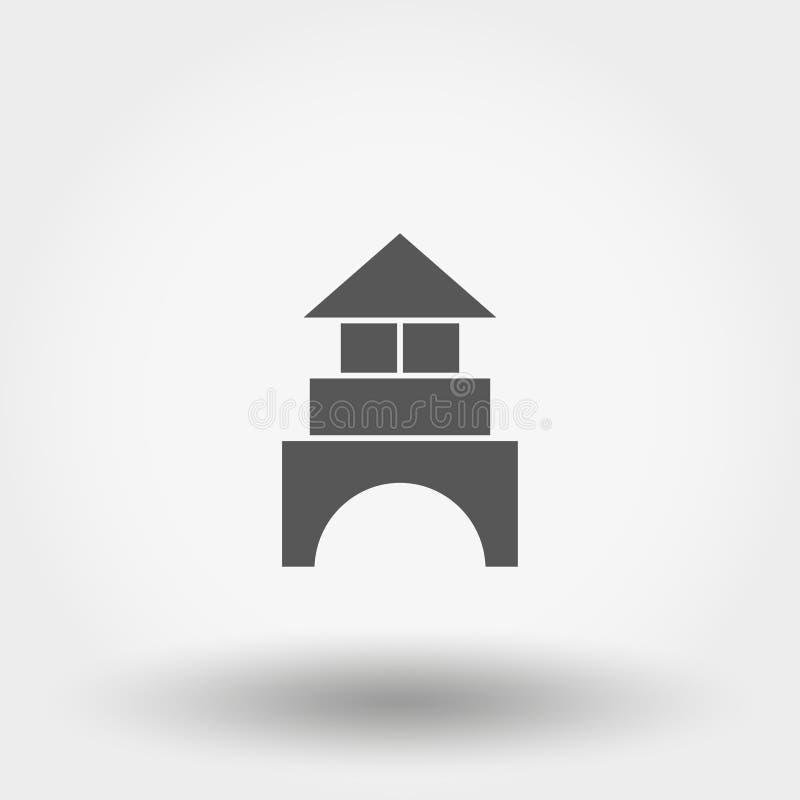 behandla som ett barn block som bygger s kuber constructor toy symbol vektor silhouette Plan design stock illustrationer