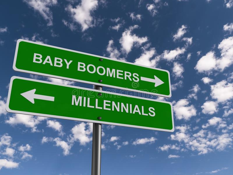 Behandla som ett barn Boomera och Millennials stock illustrationer