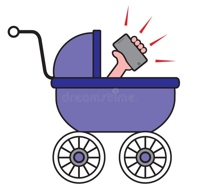 behandla som ett barn celltelefonen royaltyfri illustrationer
