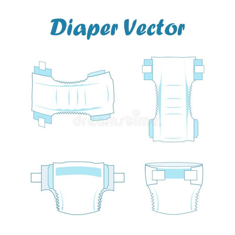 Behandla som ett barn den absorberande blöjauppsättningen också vektor för coreldrawillustration vektor illustrationer