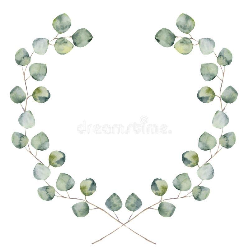 Behandla som ett barn den blom- gränsen för vattenfärgen med och silverdollareukalyptussidor royaltyfri illustrationer