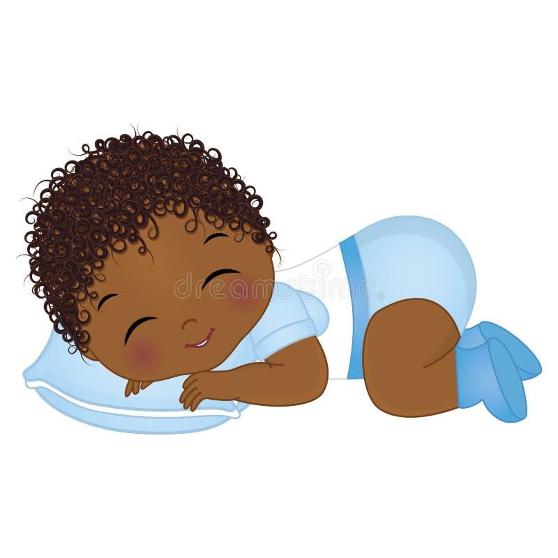 Behandla som ett barn den gulliga afrikanska amerikanen för vektorn att sova för pojke Vektorn behandla som ett barn pojkeduschen stock illustrationer