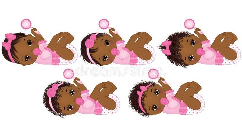 Behandla som ett barn den gulliga afrikanska amerikanen för vektorn flickor med olika frisyrer vektor illustrationer