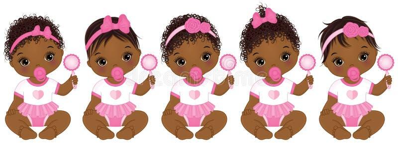 Behandla som ett barn den gulliga afrikanska amerikanen för vektorn flickor med olika frisyrer stock illustrationer