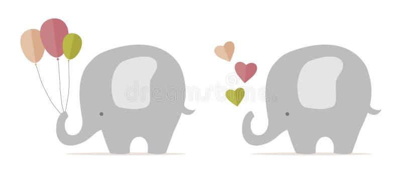 behandla som ett barn den gulliga elefanten vektor illustrationer