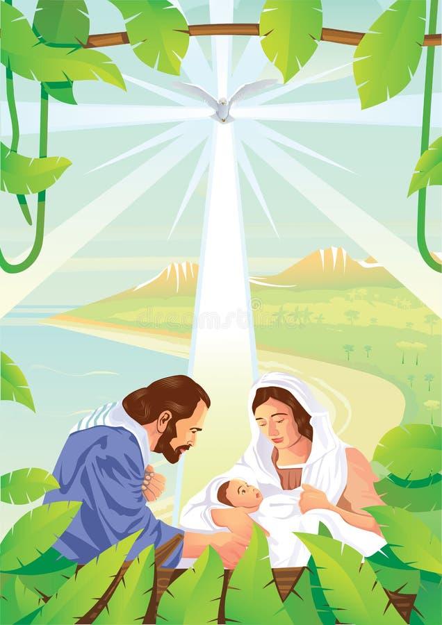 Behandla som ett barn den kristna julkrubban för jul med Jesus och änglar stock illustrationer
