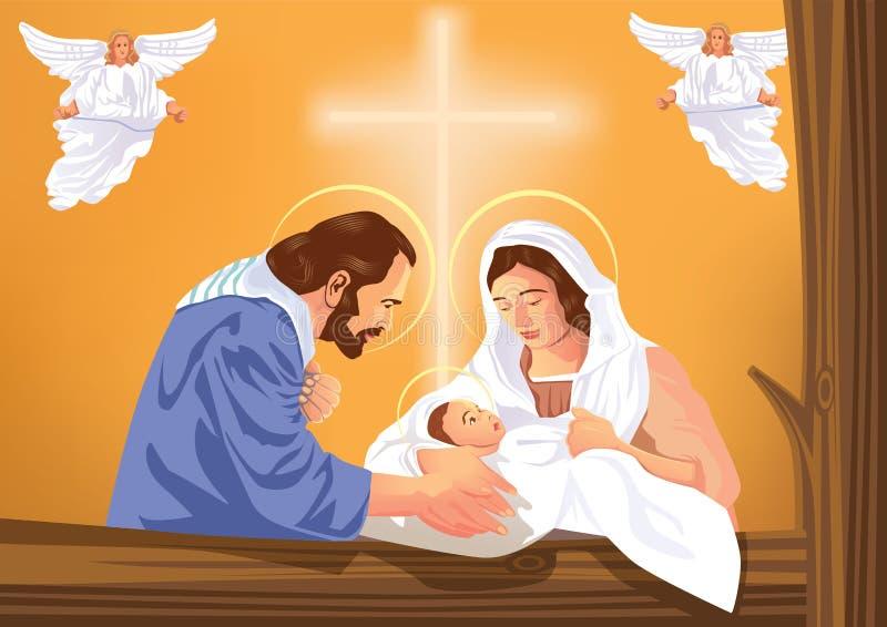 Behandla som ett barn den kristna julkrubban för jul med Jesus och änglar vektor illustrationer
