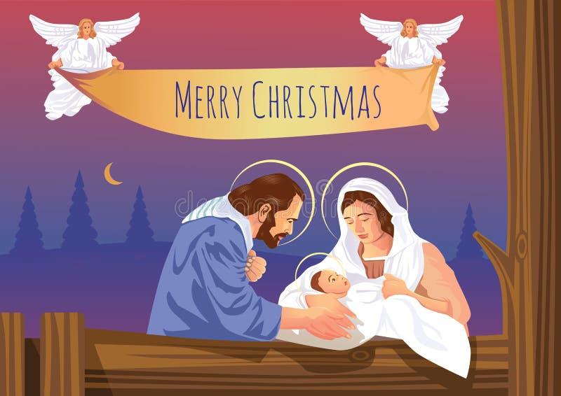 Behandla som ett barn den kristna julkrubban för jul med Jesus och änglar royaltyfri illustrationer