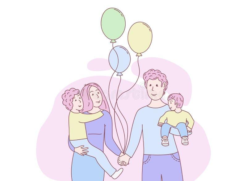 behandla som ett barn den lyckliga isolerade modern f?r bakgrundsfamiljfadern ?ver le vitt barn vektor illustrationer