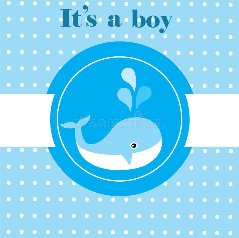 behandla som ett barn den nya duschen för det födda pojkekortet royaltyfri illustrationer