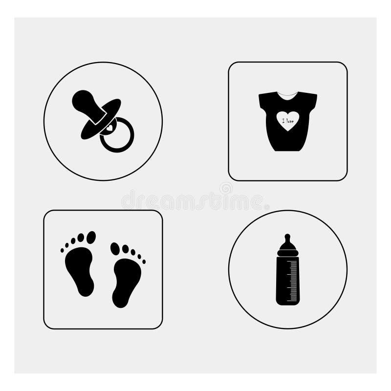behandla som ett barn den nya duschen för det födda pojkekortet Grå färgbakgrund också vektor för coreldrawillustration royaltyfri illustrationer