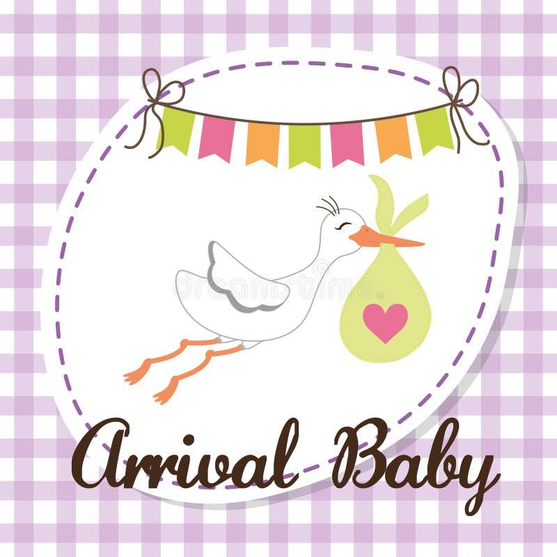 behandla som ett barn den nya duschen för det födda pojkekortet stork Pastellfärgad design som stylized swirlvektorn för bakgrund stock illustrationer