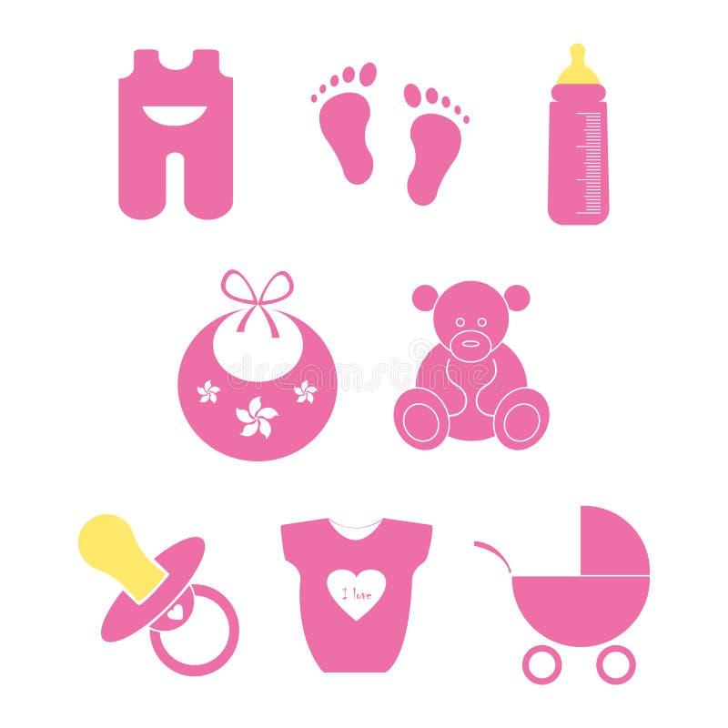 behandla som ett barn den nya duschen för det födda pojkekortet Vit bakgrund också vektor för coreldrawillustration stock illustrationer