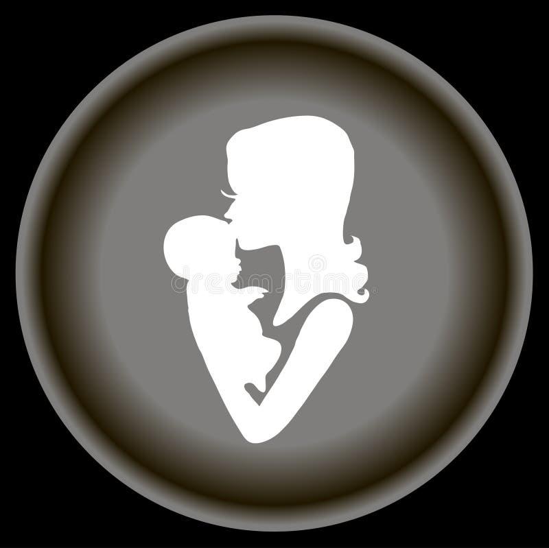 Behandla som ett barn den plana mamman för symbolen och i hand på grå färgplattan royaltyfri illustrationer