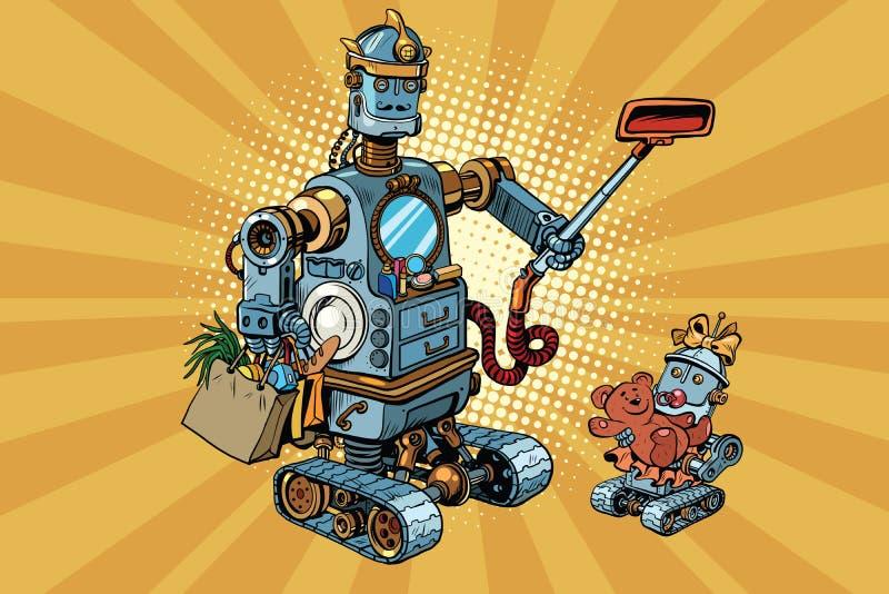 Behandla som ett barn den retro robotfarsan för familjen och royaltyfri illustrationer