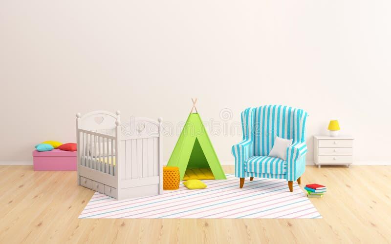 Behandla som ett barn den rumtipin och fåtöljen royaltyfri illustrationer
