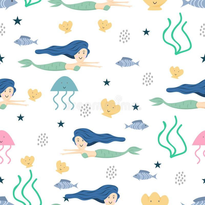 Behandla som ett barn den sömlösa modellen för den gulliga sjöjungfrun med barnslig dra färgrik bakgrund för stil för ungar för s royaltyfri illustrationer