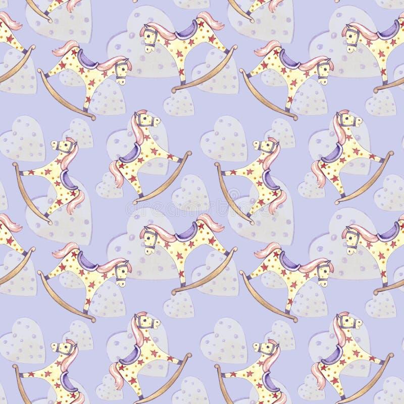 Behandla som ett barn den sömlösa vagga hästen för modellen leksaken och gula hjärtor på violett bakgrund royaltyfri illustrationer