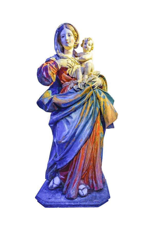 Behandla som ett barn den Sanka kvinnan för den fulla kroppen och isolerad skulptur royaltyfri fotografi