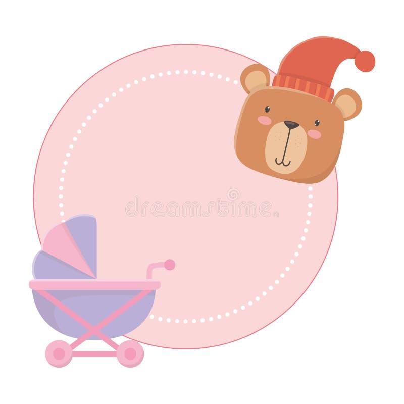 Behandla som ett barn den sittvagn- och för nallebjörnen designen royaltyfri illustrationer