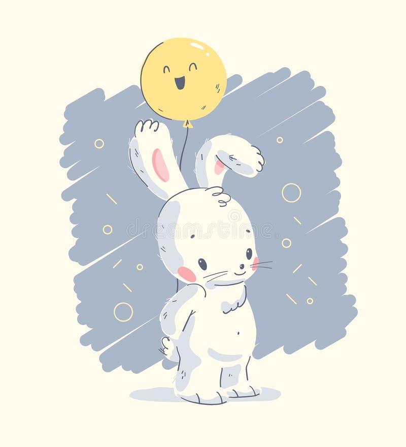 Behandla som ett barn den utdragna illustrationen för vektorhanden med gulligt litet den isolerade ballongen för kaninhållluft royaltyfri illustrationer