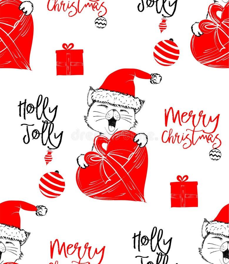 Behandla som ett barn den utdragna vektorillustrationen för handen med ett gulligt katten fira att fira glad jul - sömlös modell royaltyfri illustrationer