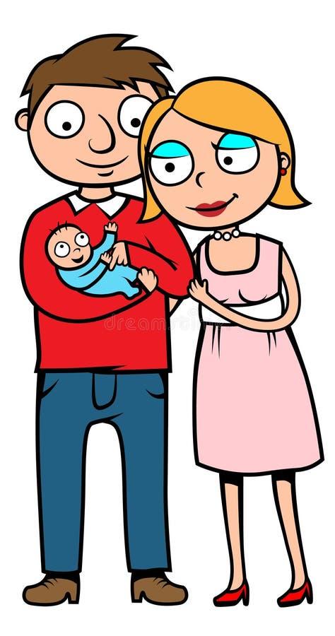 behandla som ett barn deras födda nya föräldrar vektor illustrationer