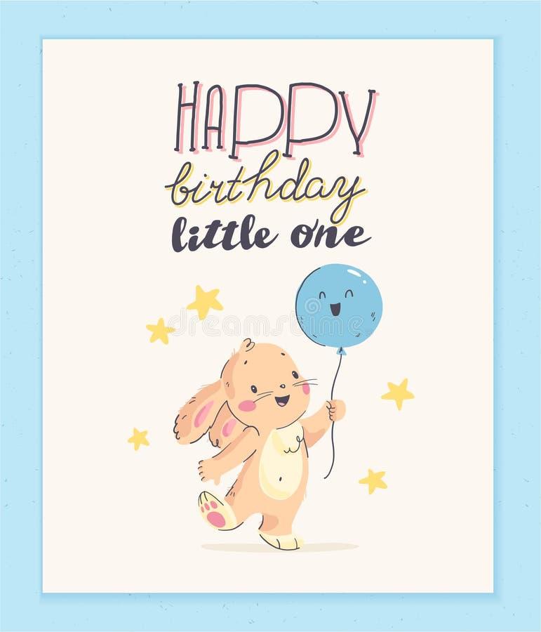 Behandla som ett barn designen för kortet för lyckönskan för den lyckliga födelsedagen för vektorn med gulligt litet lyckönskan f stock illustrationer