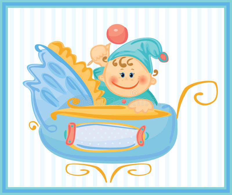 behandla som ett barn det gulliga pojkekortet royaltyfri illustrationer