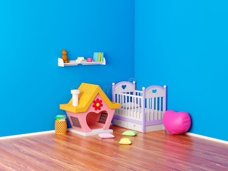 Behandla som ett barn det ljust rödbrun huset för rum royaltyfri illustrationer
