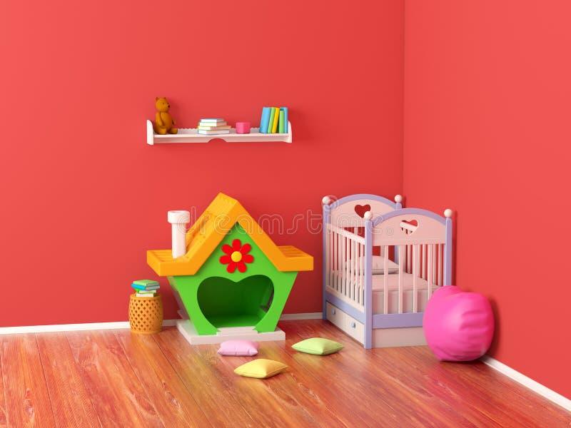 Behandla som ett barn det ljust rödbrun huset för rum vektor illustrationer