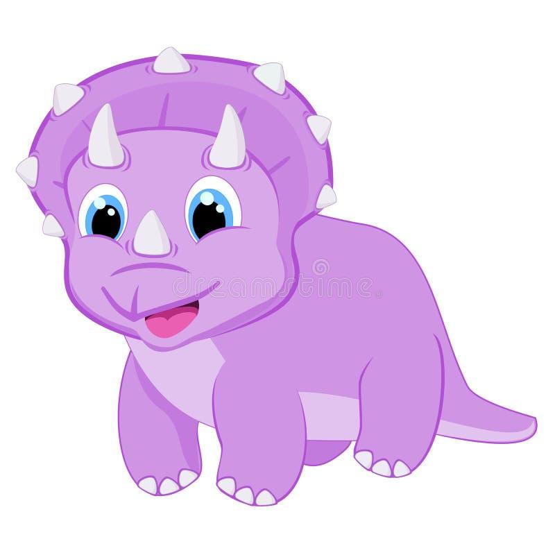 Behandla som ett barn dino för illustrationen för triceratopsdinosaurievektorn den lyckliga tecknade filmen som djura flickaktiga royaltyfri illustrationer