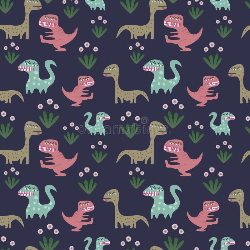 Behandla som ett barn dinosauriemodellen med utdragna barn för handen som drar stilvektorillustrationen vektor illustrationer