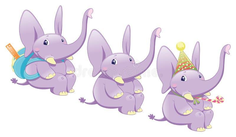 behandla som ett barn elefanter stock illustrationer
