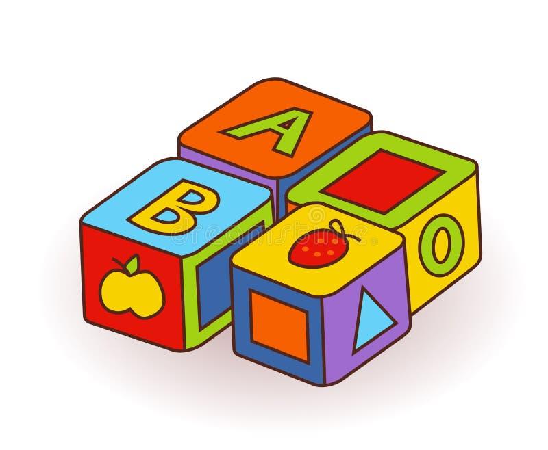 Behandla som ett barn för bokstavskuber för ` s leksaker Träalfabetkuber med bokstäver och bär frukt bilder vektor stock illustrationer
