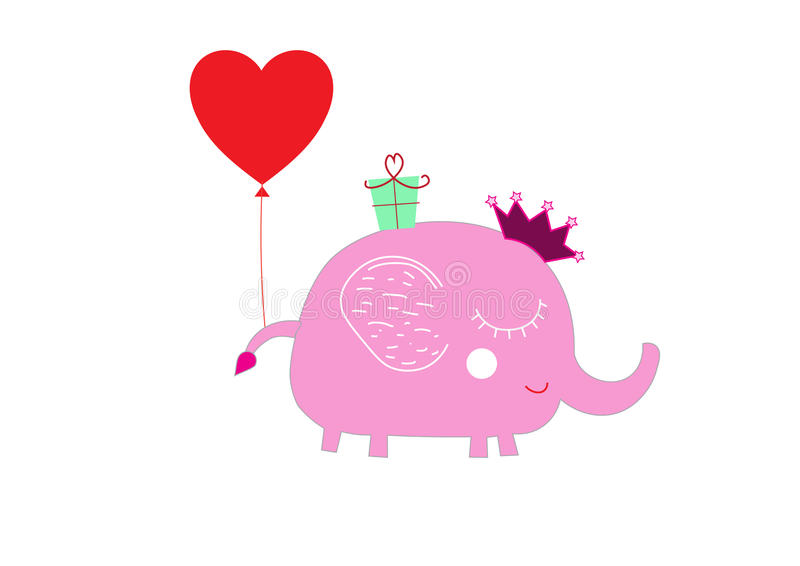 Behandla som ett barn för födelsedaghälsningen för den gulliga elefanten det första kortet arkivbilder