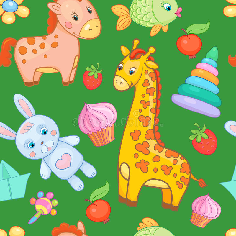 Behandla som ett barn för modellvektorn för leksaker sömlös bakgrund för djuret stock illustrationer