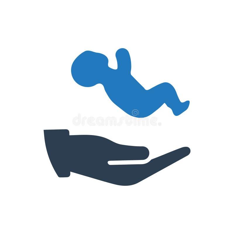Behandla som ett barn försäkringsymbolen stock illustrationer